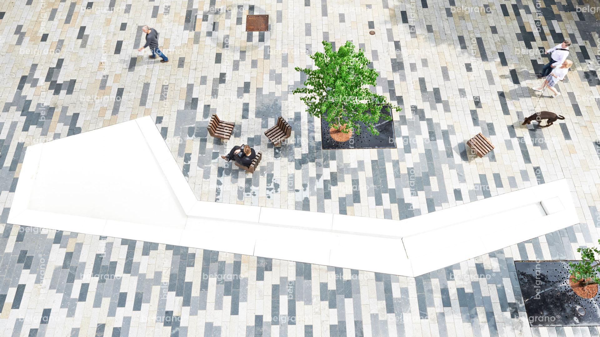Fussgängerzone Böblingen Neue Meile - mehrfarbige belgrano® Naturstein Pflasterplatten aus Granit und Diorit